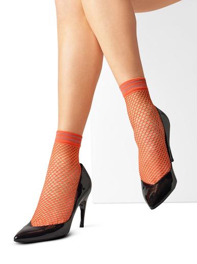 Socquettes Lurex, la paire - Le Bourget - Mandarine