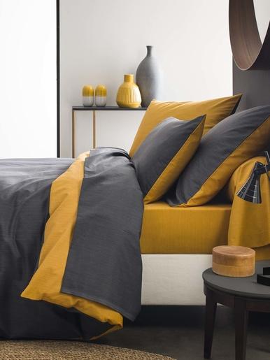 Drap plat Ecorce - Origin - Gris carbone/jaune moutarde