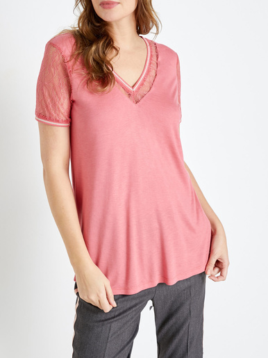 Tee-shirt manches courtes dentelle - Charmance - Rose