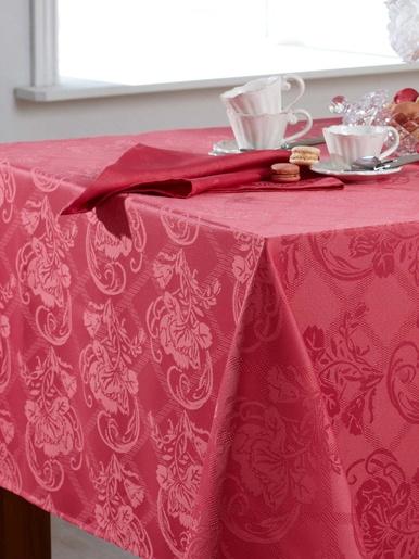 Lot de 3 serviettes de table damassées - Becquet - Rose bois de rose