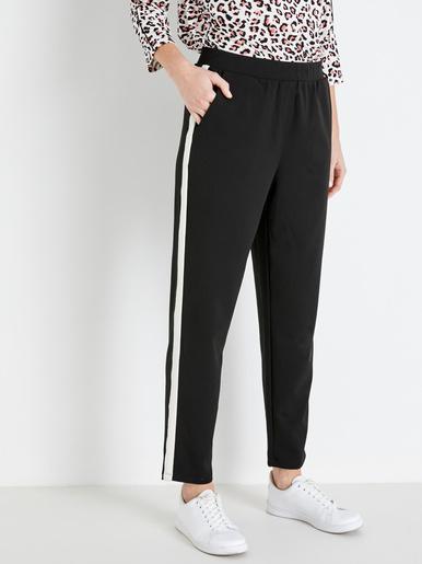 Pantalon élastiqué à bandes blanches