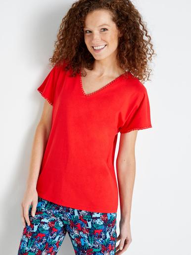 Tee-shirt fantaisie, encolure V - Balsamik - Rouge