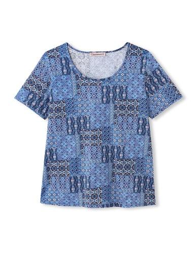 Tee-shirt imprimé patchwork - Charmance - Imprimé bleu