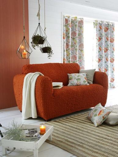 Housse de canapé 2 places, Julia - Becquet - Orange terracotta