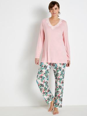 Pyjama manches longues, maille fluide