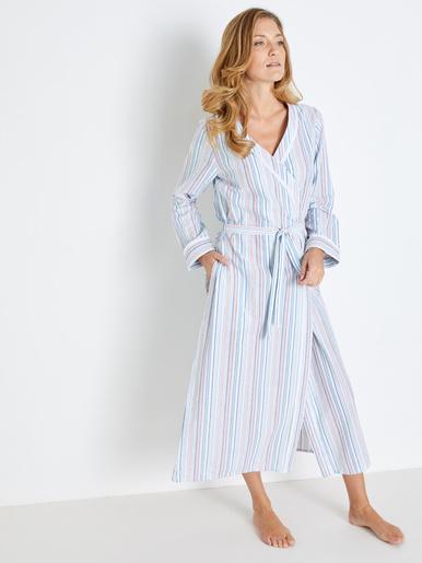 Peignoir kimono, seersucker pur coton