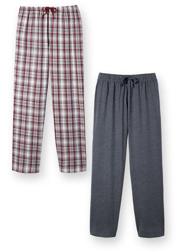 Lot de 2 pantalons de pyjama, pur coton - Honcelac - Carreaux bordeaux/gris
