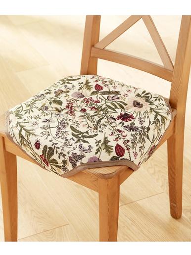 Galettes de chaise fleuries, lot de 2 - Carré d'azur - Imprimé beige