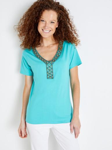 Tee-shirt encolure V bijou