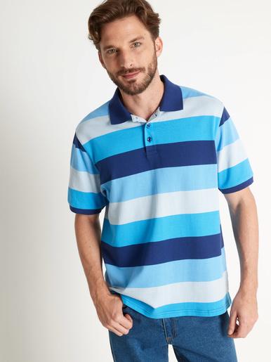 Polo rayé fil teint, manches courtes - Honcelac - Rayé bleu