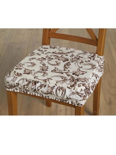 Lot de 2 galettes de chaises élastiquées - Carré d'azur - Imprimé marron