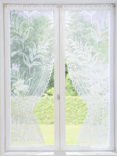 Paire de vitrages préformés motif palmes - Carré d'azur - Blanc