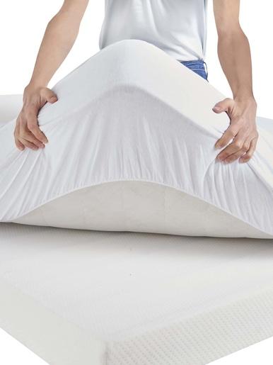 Drap-housse imperméable en Tencel® - Carré d'azur - Blanc