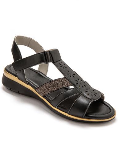 Sandales à lanières élastiquées - Pédiconfort - Noir