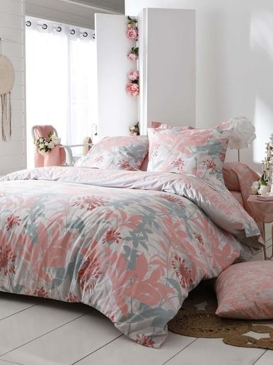 Drap-housse imprimé, bonnet 25 cm - Becquet - Imprimé rose/blanc