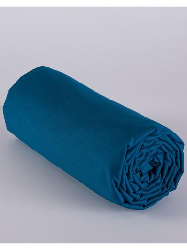 Drap-housse uni polycoton bonnet 25 cm - Becquet - Bleu pétrole