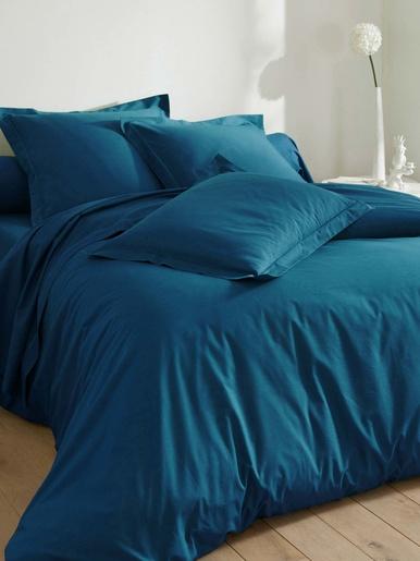 Housse de couette polycoton uni LAUREAT - Becquet - Bleu pétrole