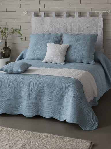 Couvre-lit en boutis de coton 370g/m2 - Becquet - Bleu grisé