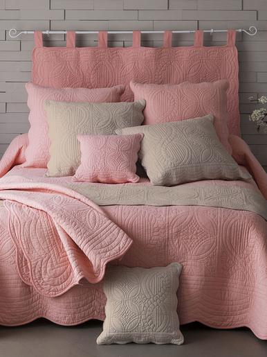 Couvre-lit en boutis de coton 370g/m2 - Becquet - Rose poudré