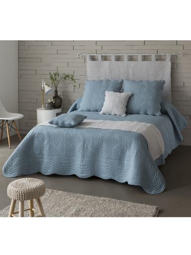 Housse d'oreiller en boutis 370g/m2 - Becquet - Bleu grisé
