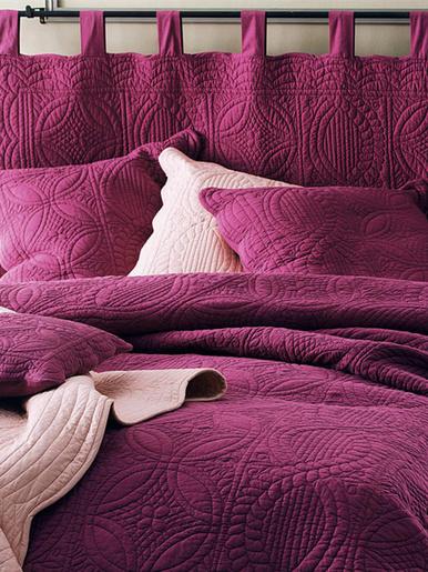 Housse d'oreiller en boutis 370g/m2 - Becquet - Cassis