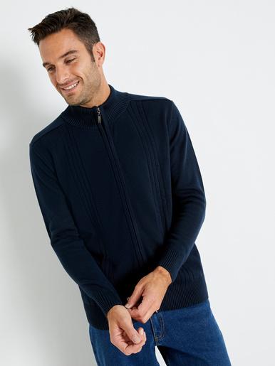 Gilet zippé, maille fantaisie - Eminence - Bleu