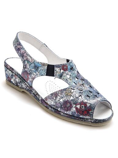 Sandales cuir, à aérosemelle® - Pédiconfort - Imprimé bleu