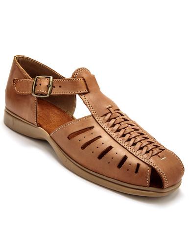 Sandales en cuir tressé et ajouré - Pédiconfort - Cognac
