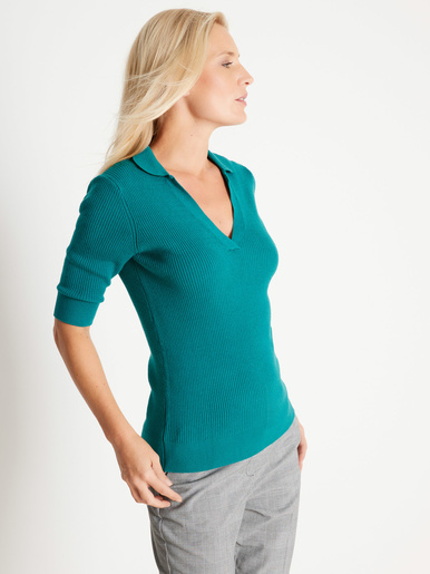 Pull col polo ouvert