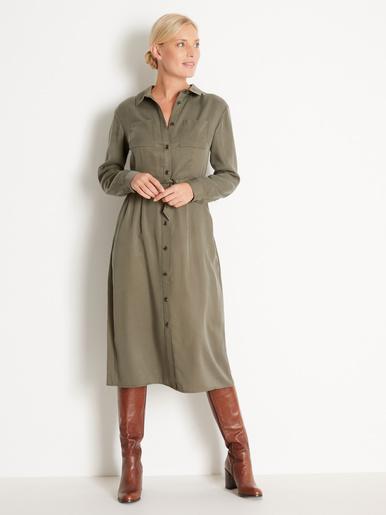 Robe chemise en lyocell - Balsamik - Kaki