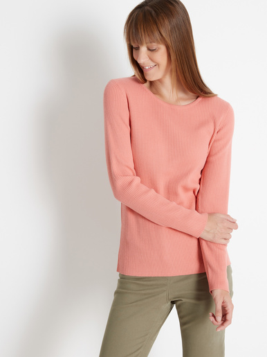 Pull chaussette, col rond - Balsamik - Rose