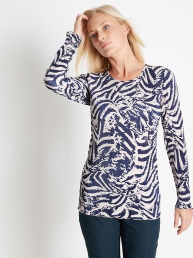 Tee-shirt plissé permanent - Charmance - Marine/ecru