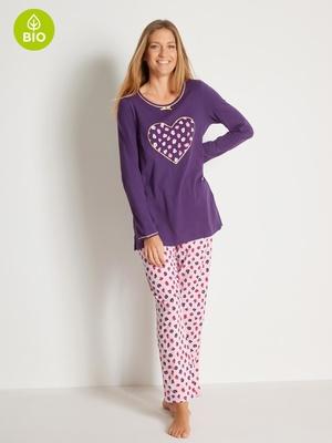 Lot de 2 pyjamas, maille coton bio