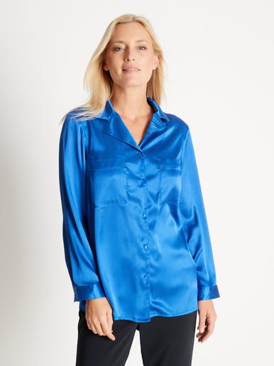 Chemisier tunique en satin - Balsamik - Bleu