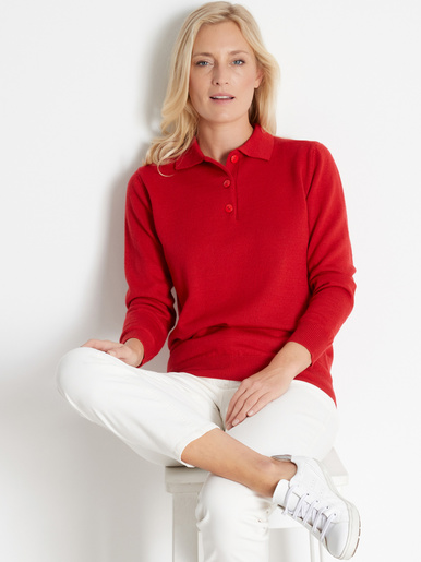 Pull col polo, 50% laine mérinos - Balsamik - Rouge
