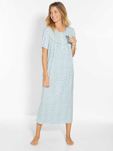 Lot 2 chemises de nuit manches courtes - Lingerelle - Fond bleu + fond blanc