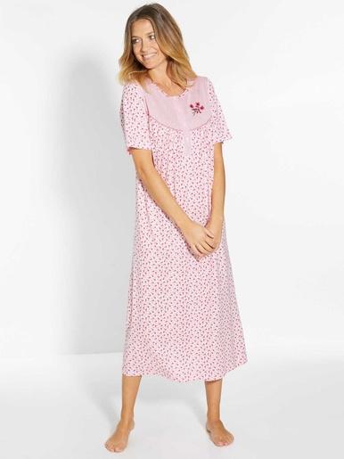 Lot 2 chemises de nuit manches courtes - Lingerelle - Fond rose + fond blanc