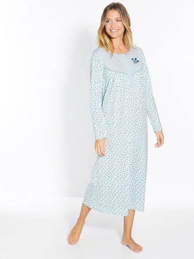 Lot 2 chemises de nuit manches longues - Lingerelle - Fond bleu + fond blanc