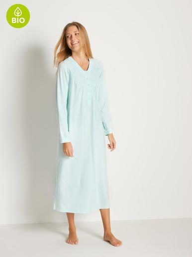 Chemise de nuit bordée, coton bio