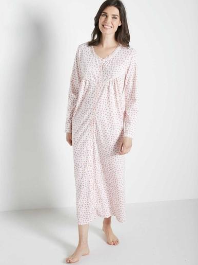 Chemise de nuit boutonnée manches longue - Lingerelle - Imprimé rose