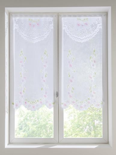 Paire de vitrages maille dentelle - Carré d'azur - Peint