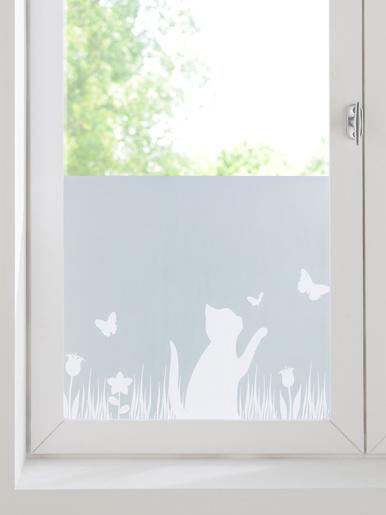 Feuille de protection anti-regards - Wenko - Blanc givré motif chat