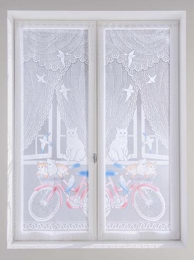 Paire de vitrages droits chatons et vélo - Carré d'azur - Peint