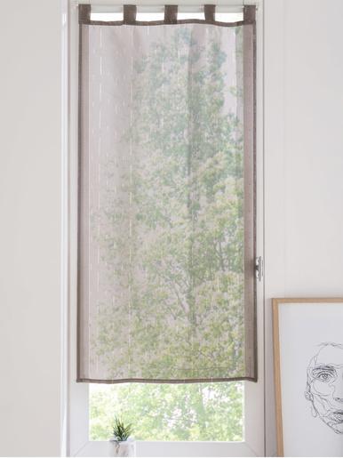 Paire de vitrages en étamine - Carré d'azur - Taupe