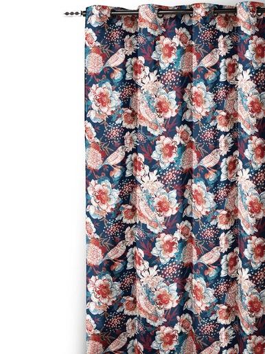 Rideau fleuri finition oeillets - Carré d'azur - Imprimé bleu
