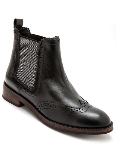 Boots cuir, élastiques fantaisie - Pédiconfort - Noir