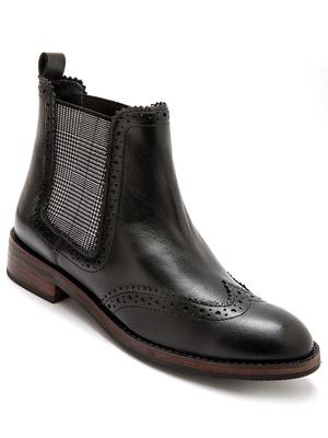 Boots cuir, élastiques fantaisie