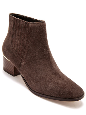 Boots zippées cuir velours, aérosemelle®