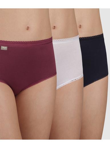 Lot de 2 culottes midi + 1 gratuite - Playtex - Rouge + blanc + bleu