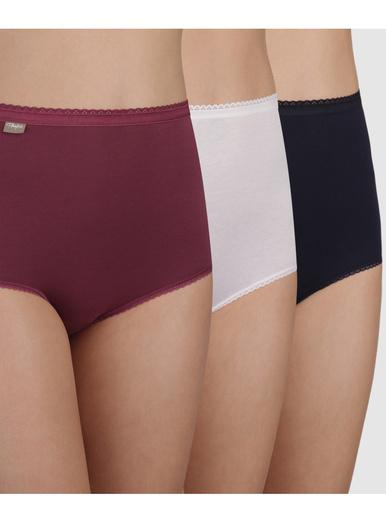Lot de 2 culottes maxi + 1 gratuite - Playtex - Rouge + blanc + bleu